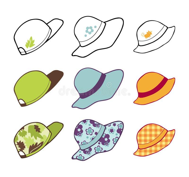 Colección de los sombreros ilustración del vector