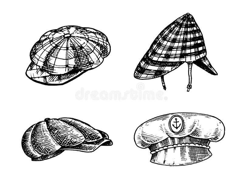 Colección de los sombreros del vintage del verano para los hombres elegantes Capitán Cowboy de la boina de Fedora Derby Deerstalk ilustración del vector
