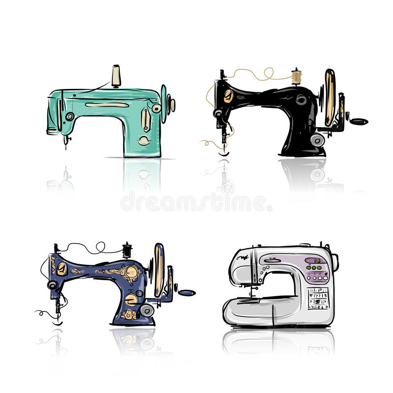 Colección de máquina de coser retra, bosquejo para libre illustration