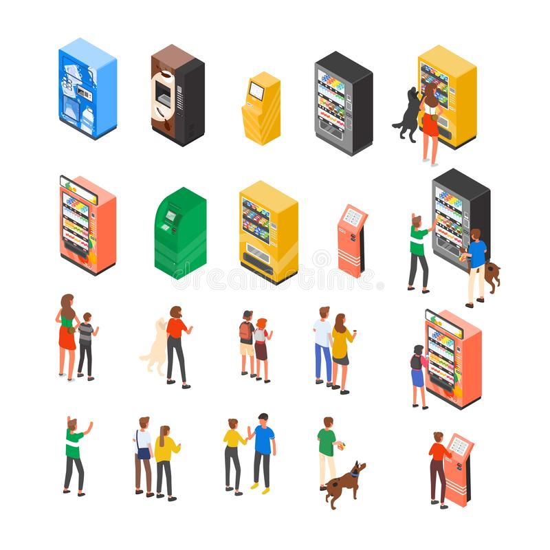 Colección de máquinas expendedoras, cajero automático, quioscos del autoservicio o terminales y clientes o consumidores interacti stock de ilustración