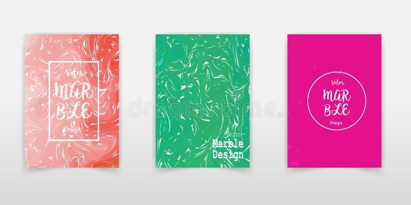 Colección de mármol de la cubierta de la textura de la tinta Pintura líquida Ebru Background del vector A4 Brown anaranjado, text stock de ilustración