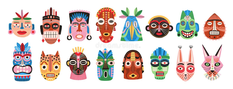 Colección de máscaras africanas, hawaianas o aztecas rituales o ceremoniales tradicionales formadas después de rostro humano o de stock de ilustración