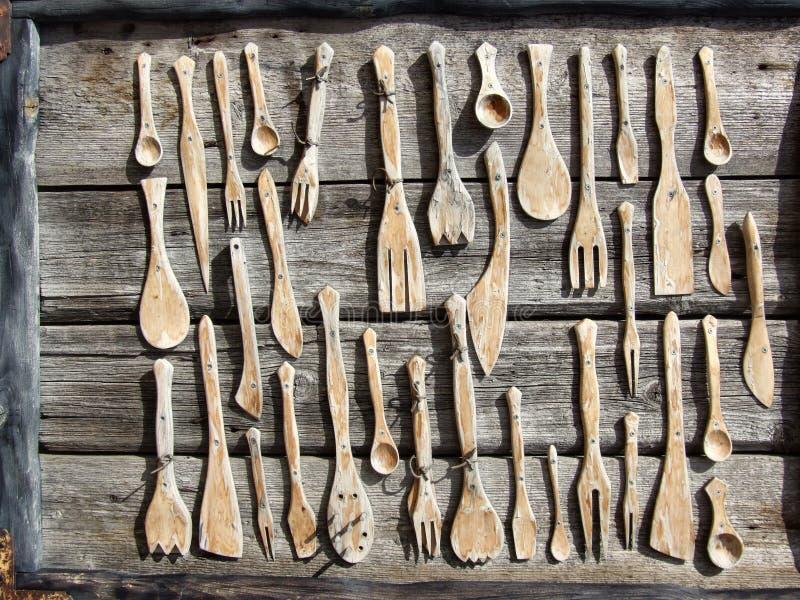 Colección de madera de la fork, de la cuchara y del cuchillo fotos de archivo libres de regalías