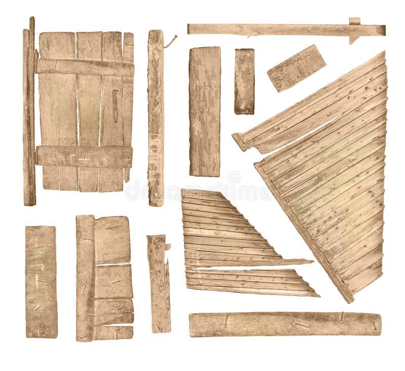 Colección de madera del tablero de la muestra aislada en blanco fotos de archivo libres de regalías