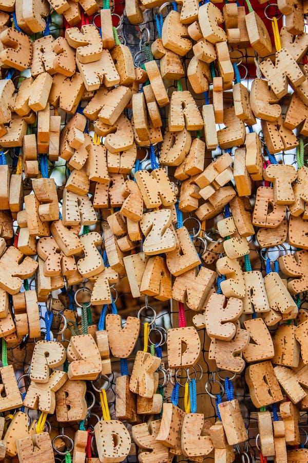 Colección de madera de las letras del arte usada para construir nombres fotos de archivo