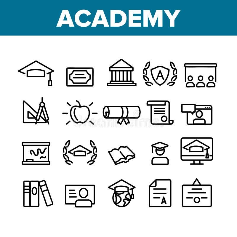 Colección de materiales de estudio Academia Vector conjunto de iconos stock de ilustración