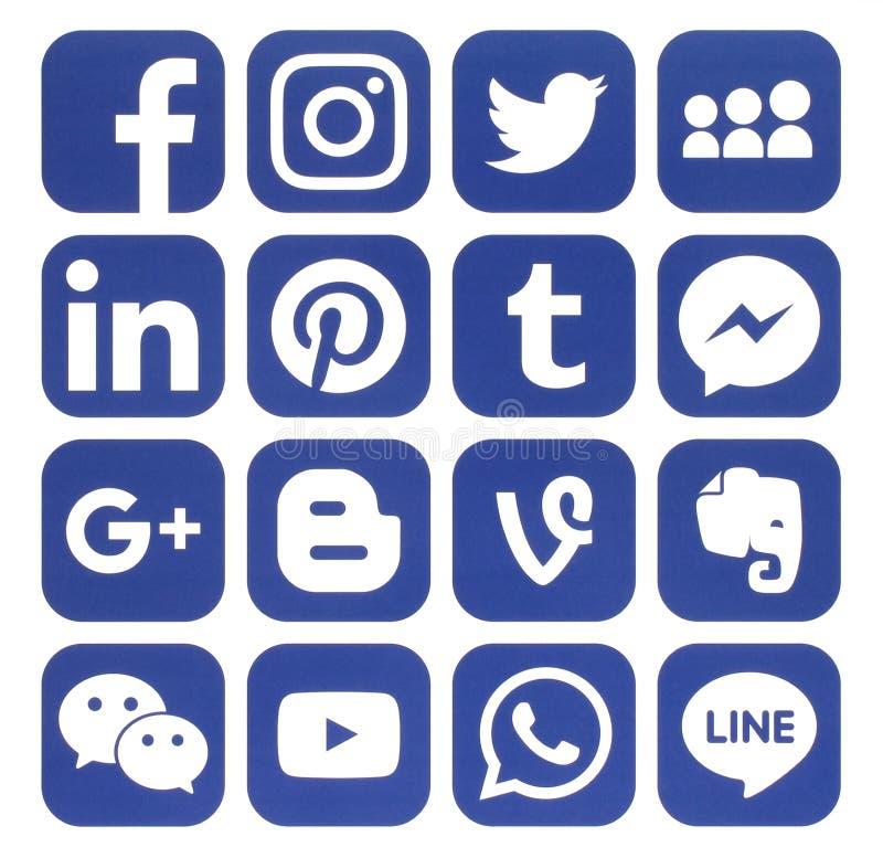 Colección de medios iconos sociales azules populares libre illustration