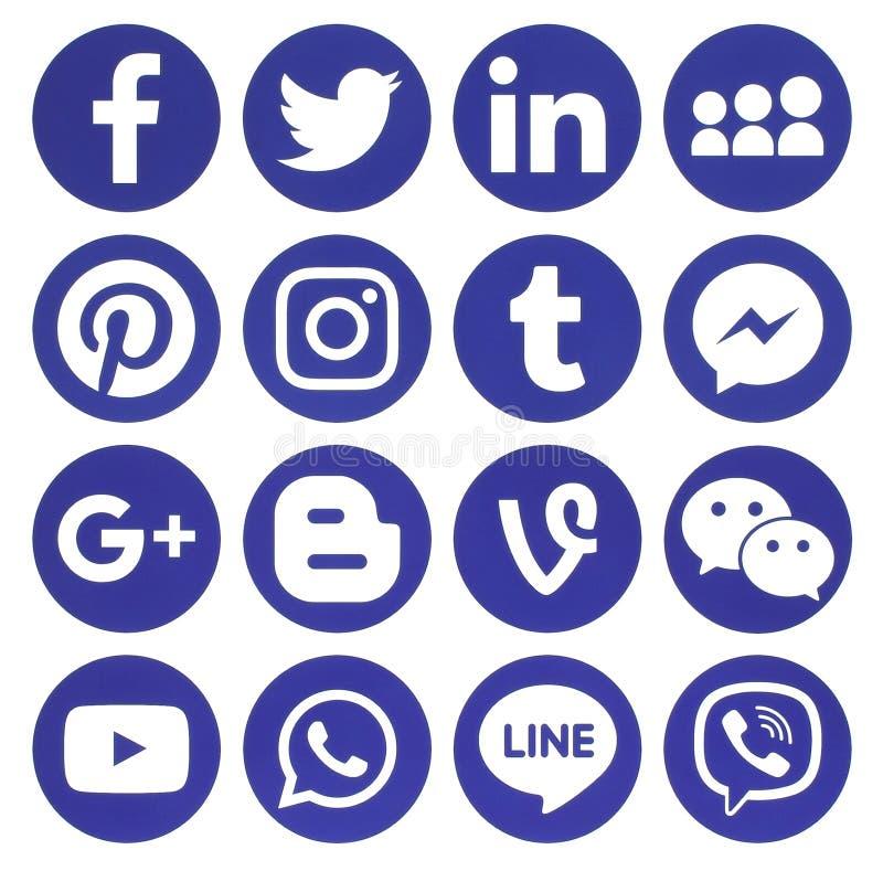 Colección de medios iconos sociales redondos azules populares ilustración del vector