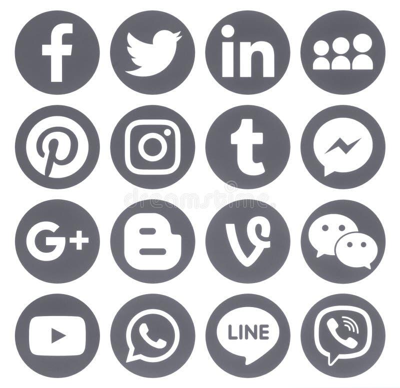 Colección de medios iconos sociales redondos grises populares imágenes de archivo libres de regalías