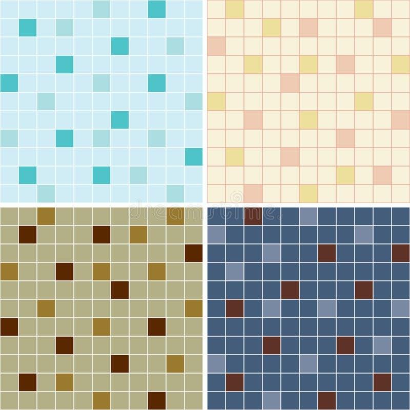 Colección de modelos inconsútiles de la teja de mosaico stock de ilustración