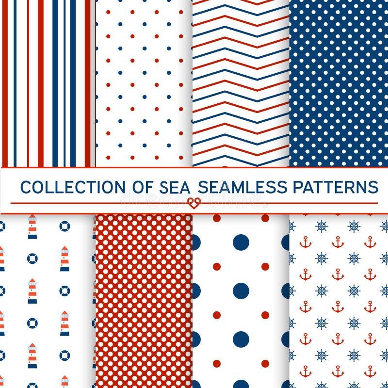 Colección de modelos inconsútiles del mar stock de ilustración