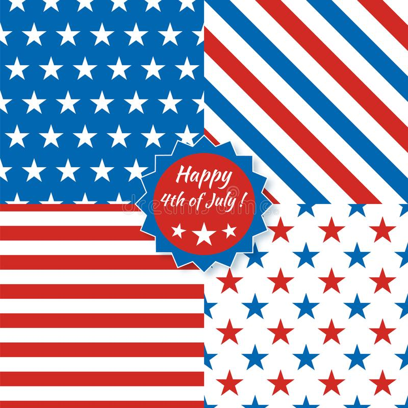Colección de modelos inconsútiles en colores americanos nacionales libre illustration
