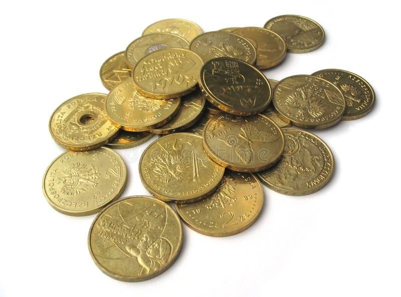 Colección de monedas dorada imagenes de archivo