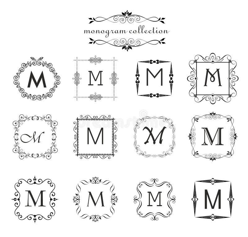 Colección de monograma del vintage Plantillas del logotipo, marcos del negro del vector del vintage para la tarjeta del menú, eti libre illustration
