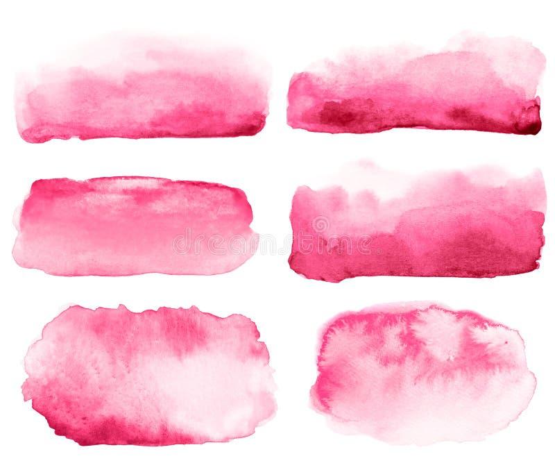 Colección de movimientos rosados exhaustos del cepillo de la mano abstracta de la acuarela libre illustration