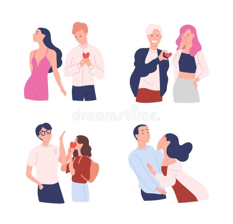 Colección de mujeres y de hombres que intentan presentar sus corazones el querido Amor no recompensado, unilateral o rechazado va stock de ilustración