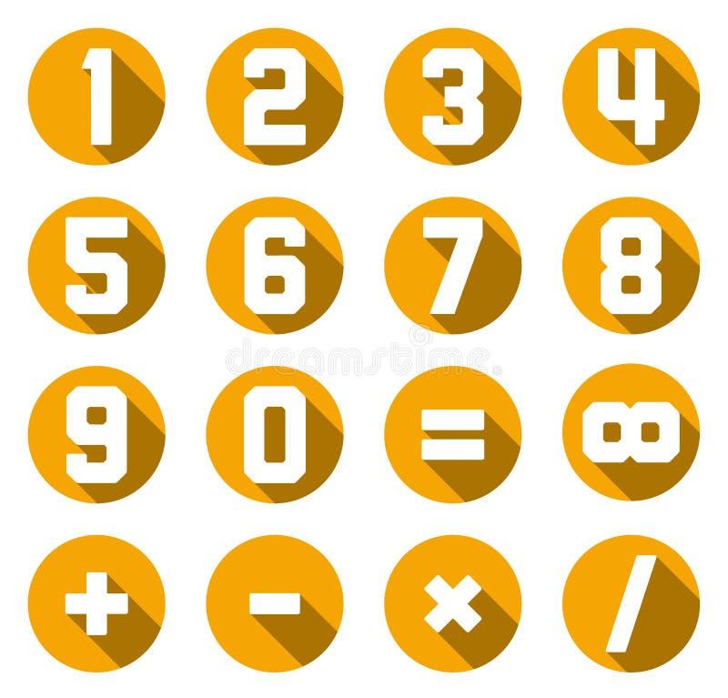 Colección de números y de símbolos planos amarillos de la matemáticas ilustración del vector