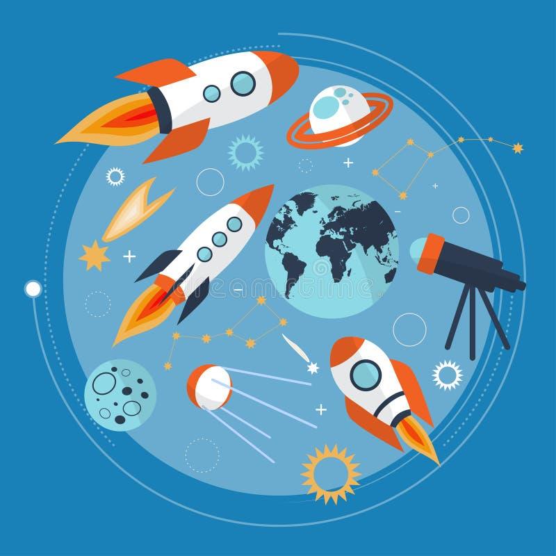 Colección de nave espacial, de planetas y de estrellas Iconos del espacio de la historieta Mano drenada Vector ilustración del vector
