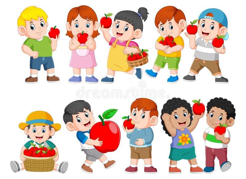 Colección de niños felices con la manzana fresca ilustración del vector