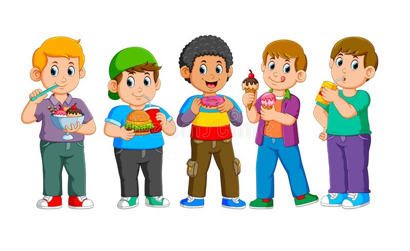 Colección de niños felices con los alimentos de preparación rápida stock de ilustración