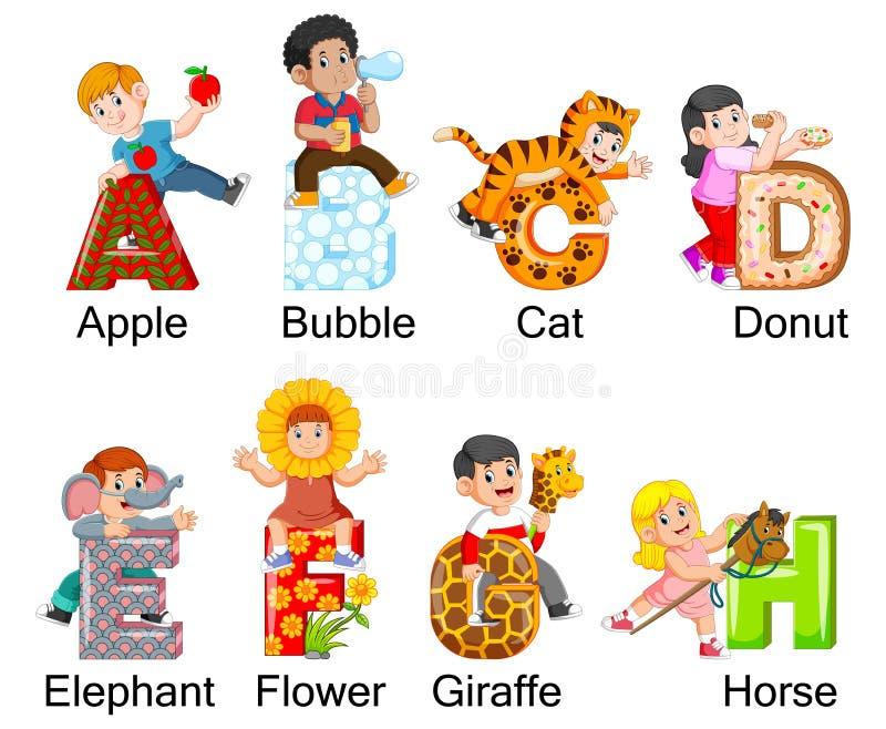 Colección de niños felices que llevan el traje con alfabeto ilustración del vector