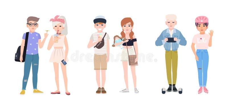 Colección de niños modernos que comen el helado, hilandero de giro de la persona agitada, patinaje sobre ruedas, hoverboard que m ilustración del vector