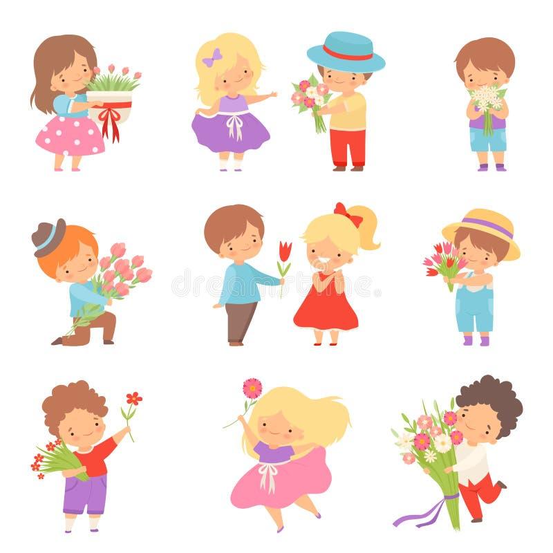 Colección de niños pequeños lindos que dan las flores al ejemplo precioso del vector de la historieta de las muchachas stock de ilustración