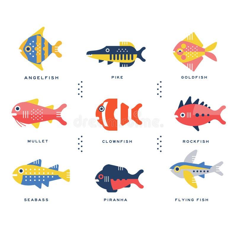 Colección de nombre del mar y de los pescados y de letras del océano en ejemplos ingleses del vector libre illustration