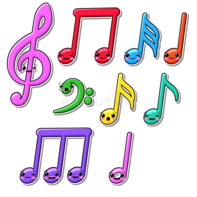 Colección de notas de la música del kawaii libre illustration