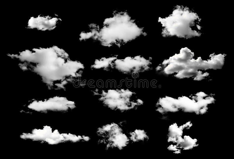 Colección de nubes del whtie en fondo negro fotografía de archivo libre de regalías