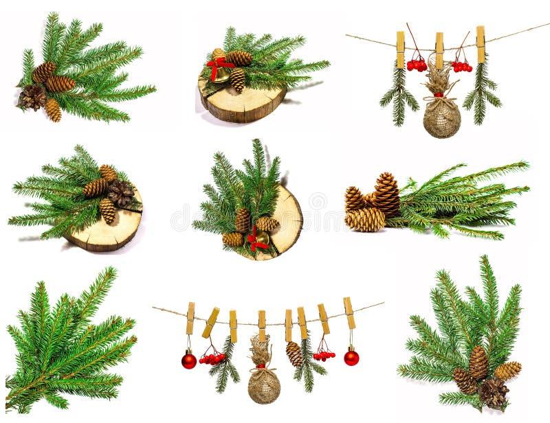 Colección de objetos de la Navidad aislados en blanco fotos de archivo