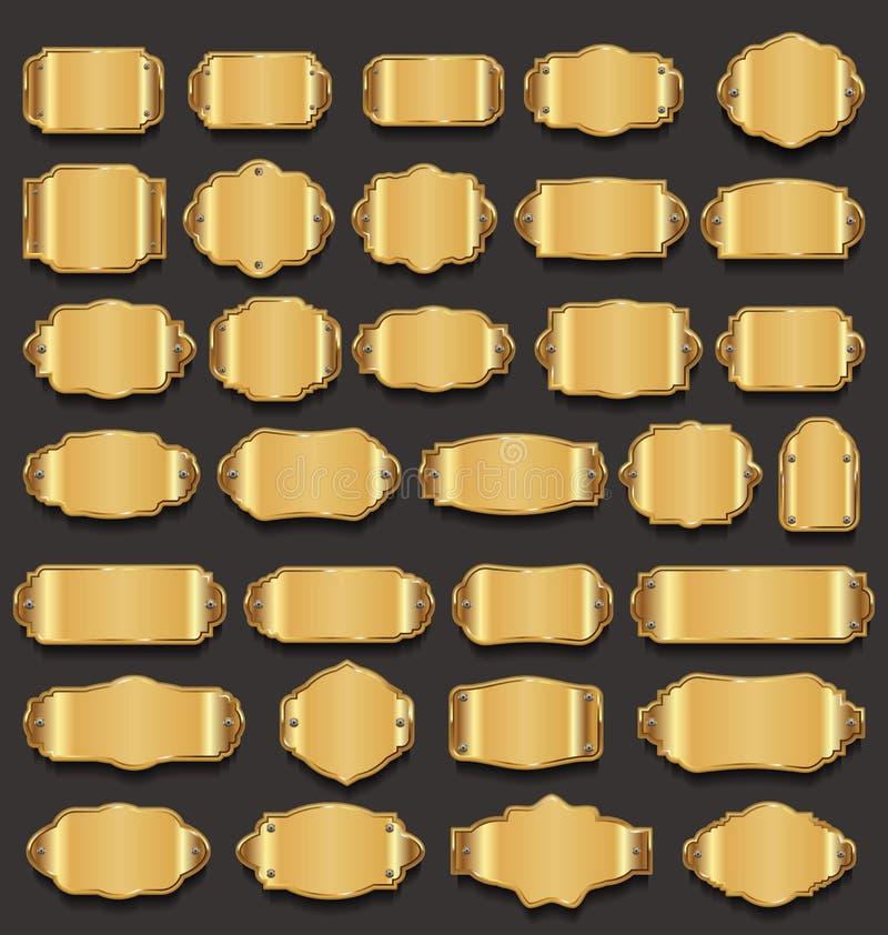 Colección de oro de la calidad superior de las placas de metal ilustración del vector