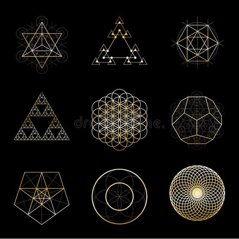 Colección de oro de los elementos del diseño del vector de la geometría sagrada Alquimia, religión, filosofía, espiritualidad, sí stock de ilustración