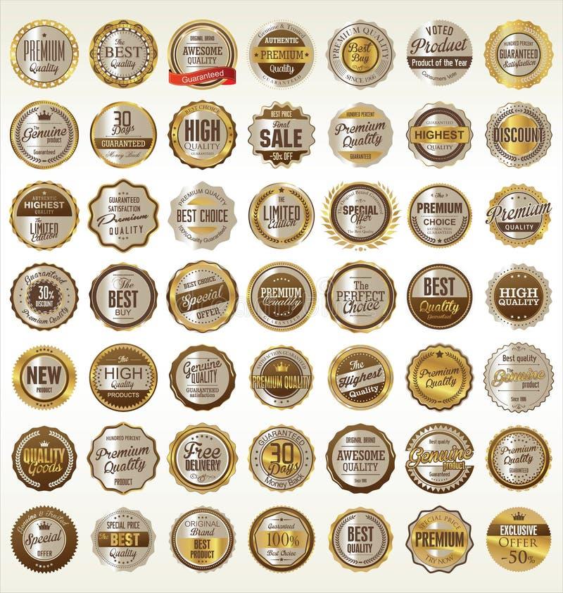 Colección de oro retra de las insignias libre illustration