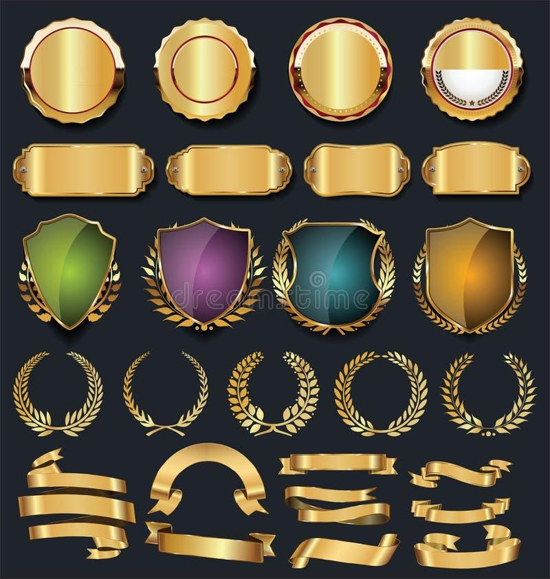 Colección de oro retra de las etiquetas y de los escudos de las cintas libre illustration