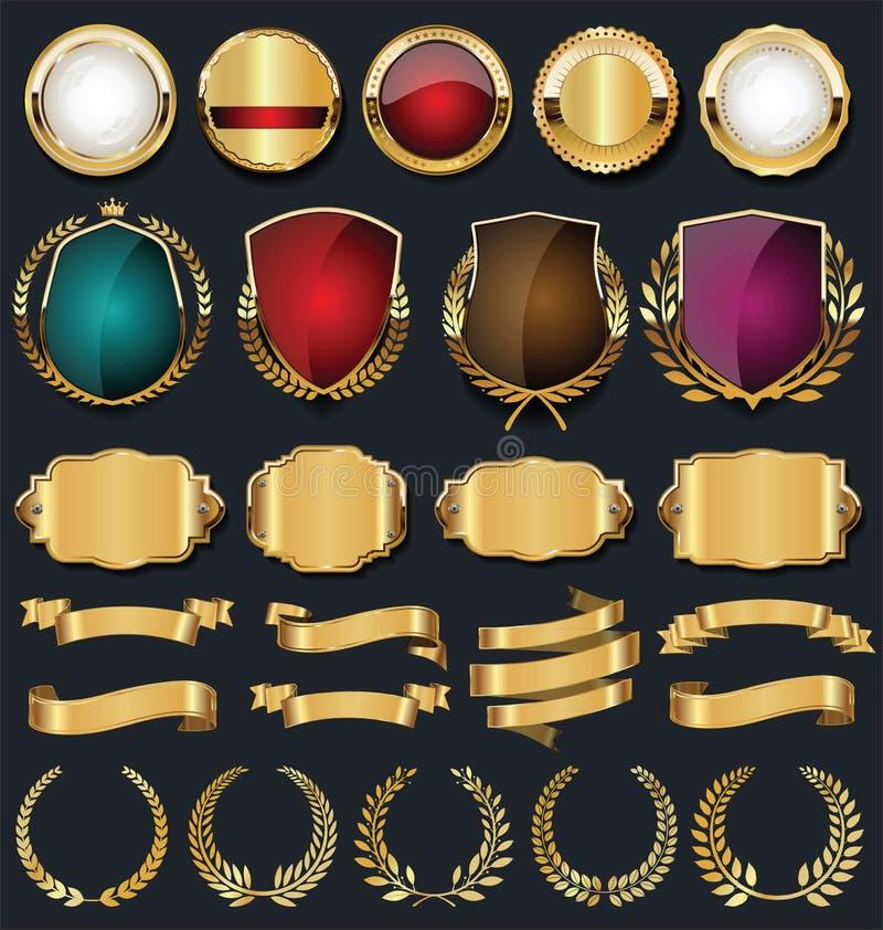 Colección de oro retra de las etiquetas y de los escudos de las cintas ilustración del vector