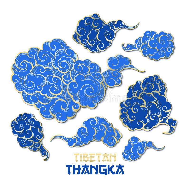 Colecci?n de oro y azul china de las nubes del vector libre illustration