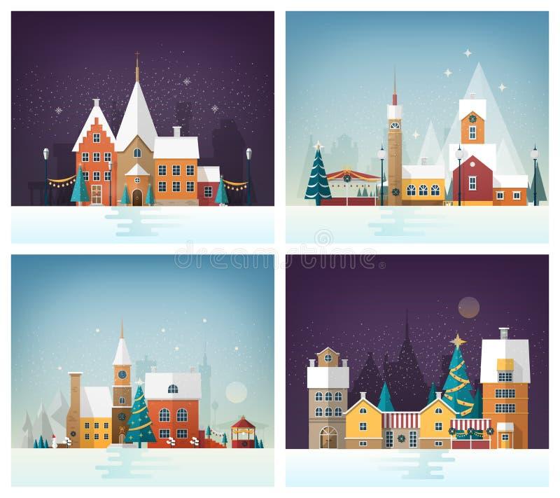 Colección de paisajes urbanos del invierno o de paisajes urbanos con las decoraciones de la calle del día de fiesta y los edifici ilustración del vector