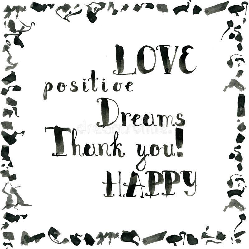 Colección de palabras dibujadas mano de la tinta: amor, positivo, sueños, que ilustración del vector