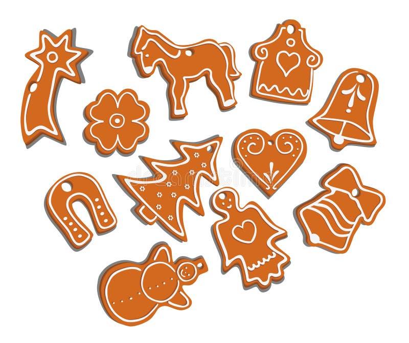 Colección de pan de jengibre stock de ilustración