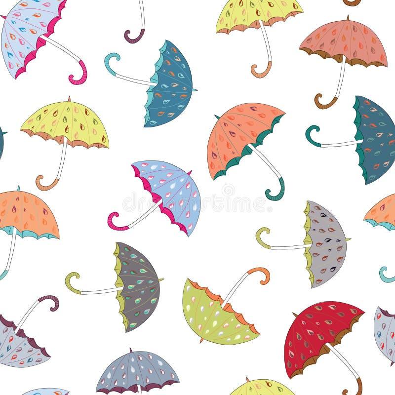 Colección de paraguas anaranjados, amarillos, azules con el modelo inconsútil de los descensos lluviosos exhaustos Ilustración de ilustración del vector