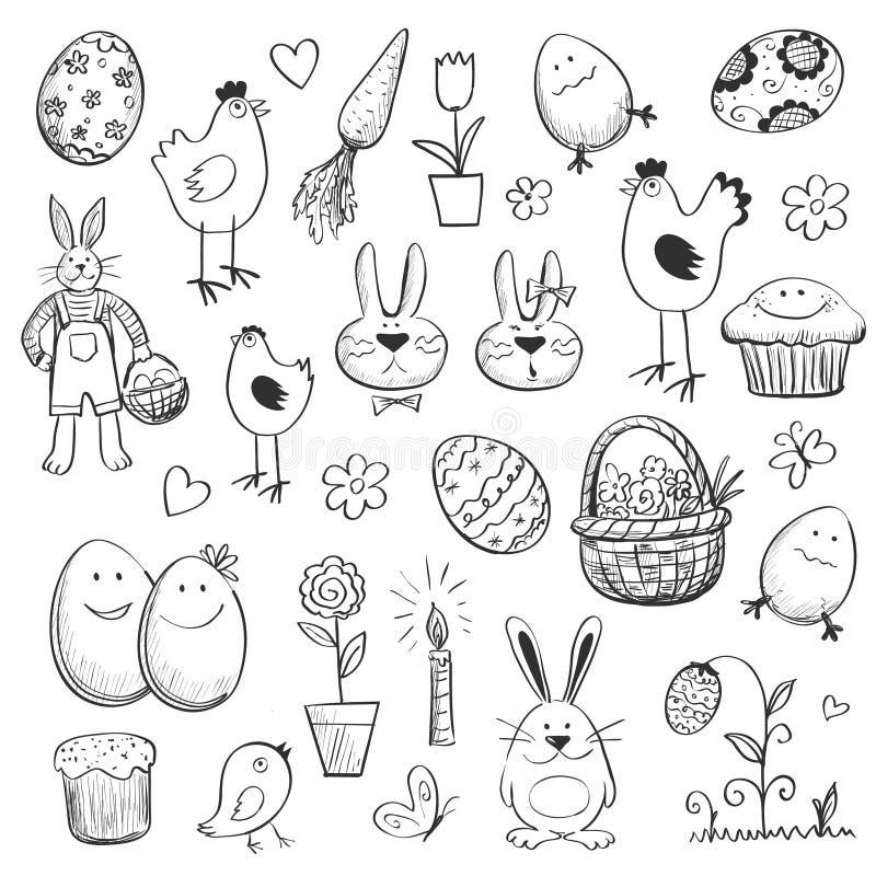 Colección de Pascua de dibujos para su diseño ilustración del vector