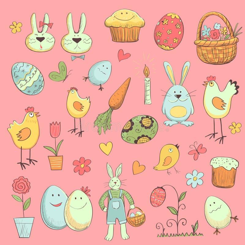 Colección de Pascua de elementos para su diseño stock de ilustración