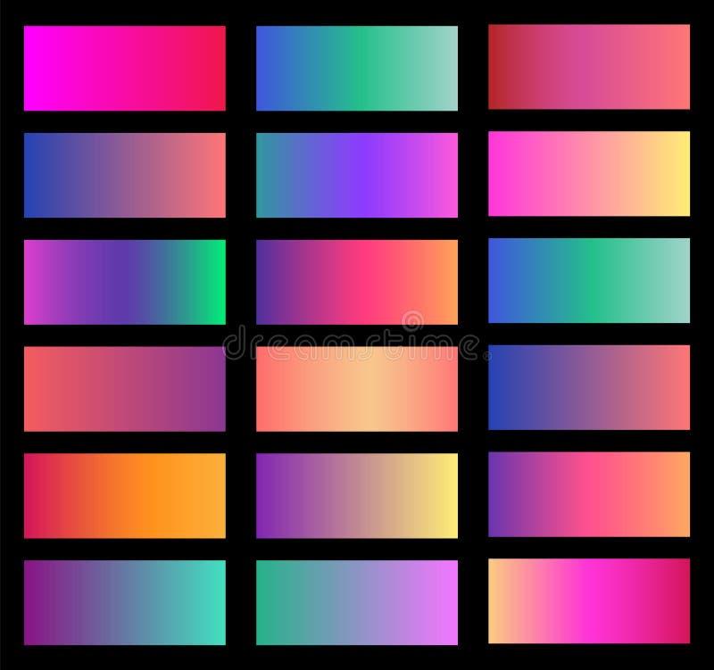 Colección de pendiente suave del fondo del color Placas con efecto de la pendiente Ilustración del vector ilustración del vector