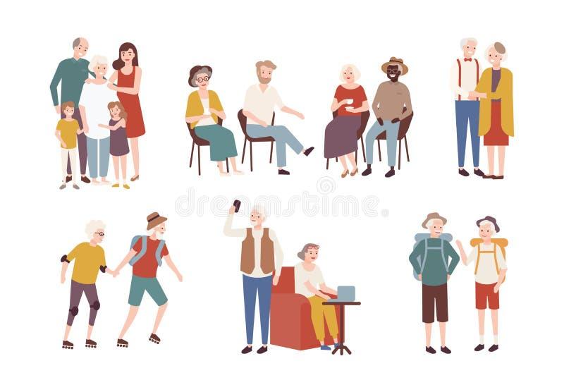 Colección de personas mayores felices que realizan las actividades diarias - rollerskating, el acampar que va, pasando tiempo con ilustración del vector
