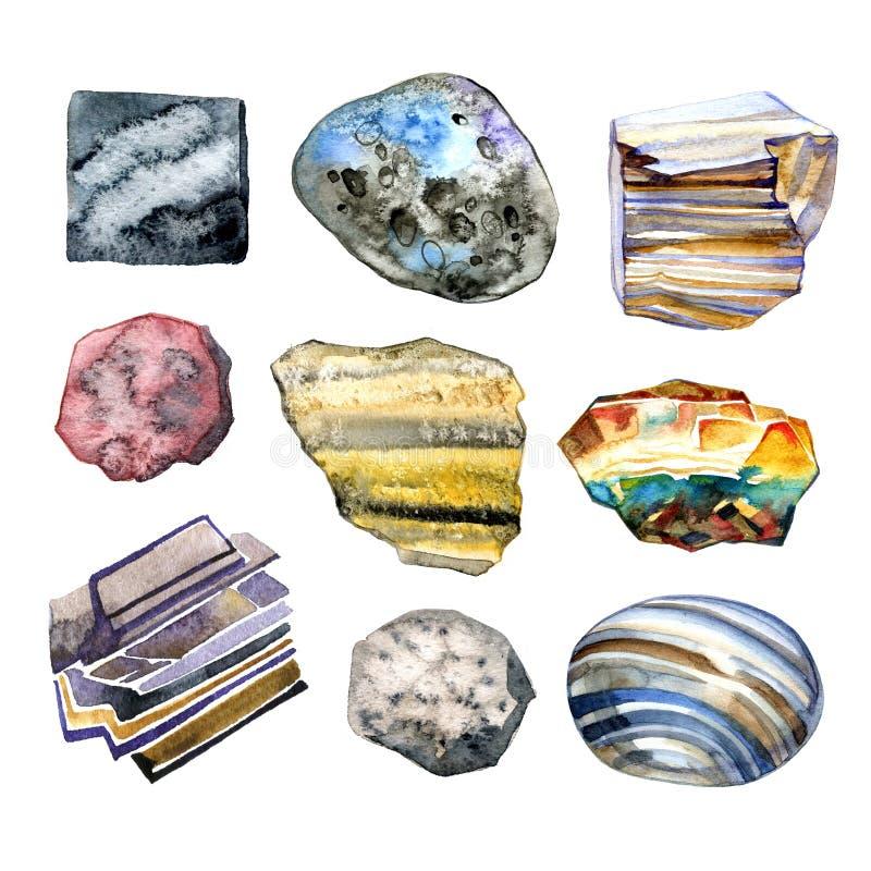 Colección de piedras de la acuarela, ejemplo en el fondo blanco ilustración del vector