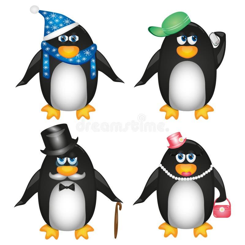 Colección de pingüinos en el fondo blanco fotos de archivo