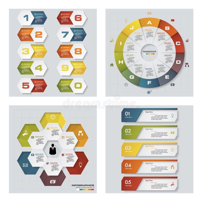 Colección de 4 plantillas coloridas de la presentación del diseño Fondo del vector ilustración del vector