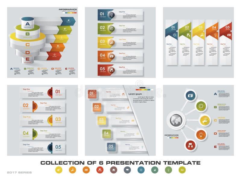 Colección de 6 plantillas coloridas de la presentación del diseño EPS10 Sistema de iconos del vector y del negocio del diseño del libre illustration