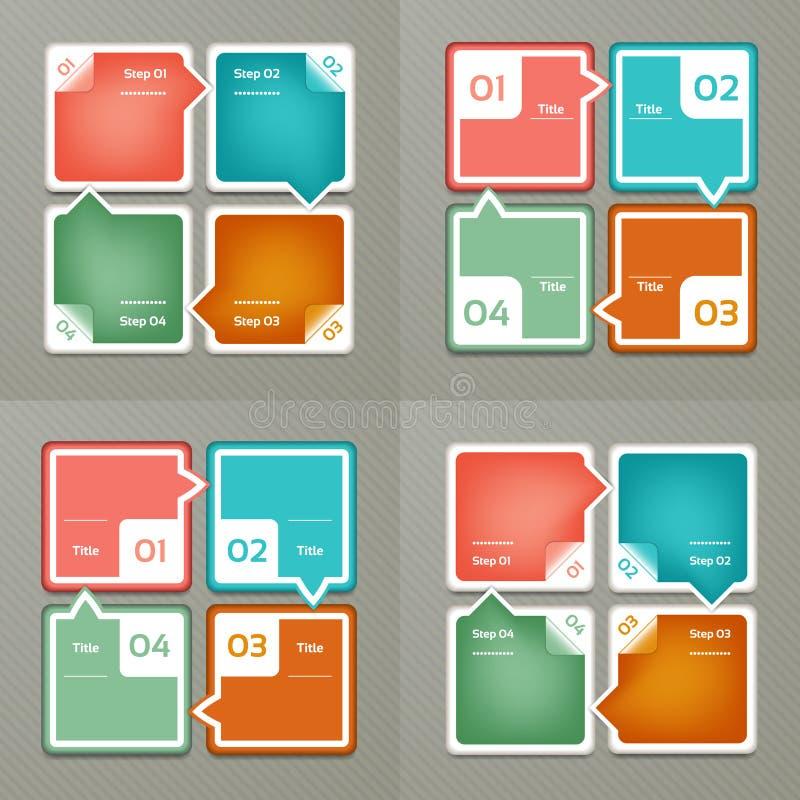 Colección de plantillas de Infographic para el negocio Cuatro pasos que completan un ciclo diagramas Ilustración del vector stock de ilustración